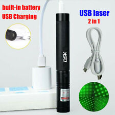 USB Rechargeable Green Laser Pointer Pen 900Miles Focus/Zoom Beam Lazer+Star Cap