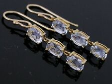 E100 - Gorgeous Genuine 9ct Yellow Gold Natural Aquamarine Drop Journey Earrings