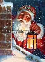 Vintage Santa Claus on Roof with Lantern Quilting Fabric Block
