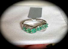 NATURAL EMERALD PREMIUM QUALITY SILVER RING SIZE P 1/2 'CERTIFIED' FAB COLOUR!