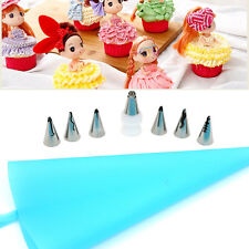 7 Pcs/set Craft Cake Decorating Kit Doll Skirt Icing Piping Bag Pastry Nozzles