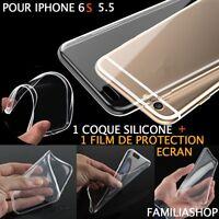 Housse étui coque souple transparent gel silicone iphone 6S 5.5 PLUS +  1 film