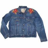 NWT AMERICAN EAGLE Misses Denim Jacket Sz L Embroidered Medium Wash