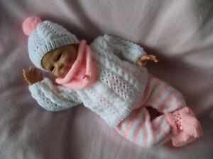 Reborn - Ausfahrgarnitur Gr. 48 - 50cm  Baby Puppen Strickgarnitur