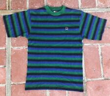 Vintage Tommy Hilfiger Stripe Crest Logo T Shirt XL Deadstock Black Purple Green