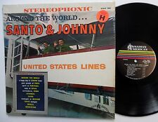 SANTO & JOHNNY Around The World LP 1962 Rock N Roll Instrumentals STEREO  cc