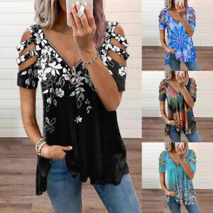 Damen Schulterfrei T-Shirt Bluse Oberteile Kurzarm Printed Freizeit Sommer Tops