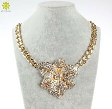 Fashion Necklace For Women Gold Plated Chunky Chain Rhinestone Flower Necklace