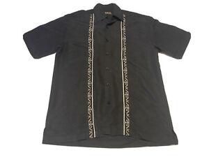 Cubavera Shirt Rockabilly Cigar Lounge Black Embroidered Men's S Striped