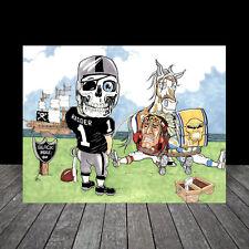 OAKLAND RAIDERS FOOTBALL ART, artist signed, auto., skeleton in jersey & helmet
