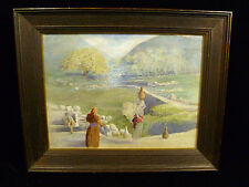 19th CENTURY NEEDLEWORK STITCHERY & OIL PAINTING  'CLOSE TO THE WELL OF SAMARIA'