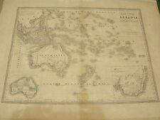 1854 CARTA GEOGRAFICA DELL'OCEANIA  CESARE MAGGI EDITA A TORINO LITHO DI J.IUNK