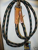 Weaver poly roping barrel Braided rope reins Hunter Green Black TAN horse tack