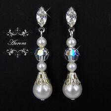 Swarovski Crystal Elements White Pearl Silver Tear Drop Earrings Wedding 4cm