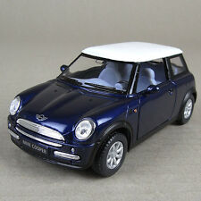 2001 Mini Cooper Die-Cast Collectible Model Car 1:28 Scale Blue Opening Doors