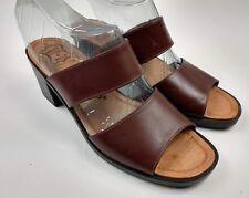 Callisto of California Women's Brown 2 Strap Open Toe Heels Slides Sandals Sz 6M