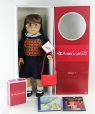 Retired Pleasant Company American Girl doll Molly in box with purse books glasse
