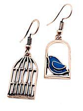 Bonito Pájaro en una Jaula Esmalte Azul Largos Chapado Oro Rosa Pendientes Boho