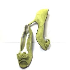 Women's Via Spiga Lime Green Suede Leather Bow Peep Toe Pumps Size 7 M