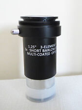 """High Quality 1.25"""" 3x ACHROMATIC BARLOW LENS for TELESCOPES, New Boxed, SALE!!"""