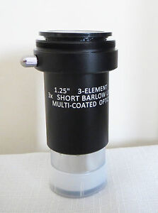"High Quality 1.25"" 3x ACHROMATIC BARLOW LENS for TELESCOPES, New Boxed, SALE!!"