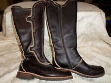 Ruff Hewn Brown Pebbled Leather Tall Boot 6.5 M GUC Low Heel Hidden Pocket 61351