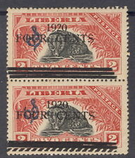 Liberia 1920, 4c on 2c civet official, PAIR, one with SEGMENTED killer bar #O112