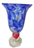 Beautiful Art Glass BLUE SWIRL Vase with Red Middle - 12 inch tall - Unique