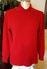 MISS X 100% Cashmere Red Cable Knit High Mock Collar Long Sleeve Sweater - sz M