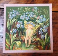 Vintage 40s Brownie Baby Fairy Angel Butterfly Wings Pixie Blank Greeting Card