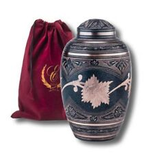ADULT SIZE SOLID BRASS FUNERAL CREMATION URN WITH POUCH