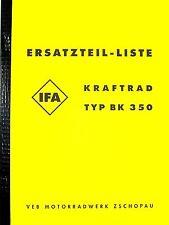 Ersatzteilliste IFA MZ BK 350