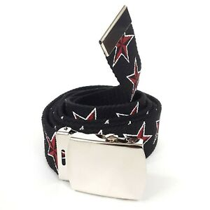 Red Nautical Star Black Canvas Military Web Belt Rockabilly Punk Gothic Horror