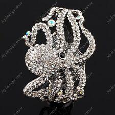 Clear rhinestone Crystal Octopus fashion jewelry Bracelet Cuff bangle white cute