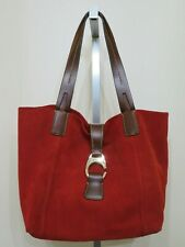 DOONEY & BOURKE RED SUEDE LEATHER DERBY EAST WEST SHOPPER TOTE BAG PURSE NEW