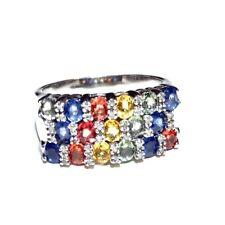 Men's Large Sterling Silver Multi-color Sapphire/Topaz Diamond Ring Size 12.5