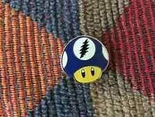 Dead Head Blue Glow in the Dark Video Gamer Magic Mushroom Enamel Lapel Hat Pin