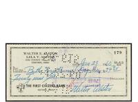 1960 Walter Alston Signed Check COA JSA
