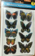 jot BUTTERFLIES Orange/Yellow/Black Silver Holo Butterfly Stickers 3-D Wings NIP
