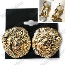 CLIP ON EARRINGS 2.8cm big roaring lion GOLD FASHION vintage retro chunky clips