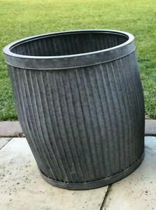 Large Round Galvanised Metal Barrel Planter Tub Plant Flower Pot Garden