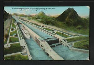 PANAMÁ 14-PANAMÁ -View of Steamer passing through Locks on the Panama Canal, as