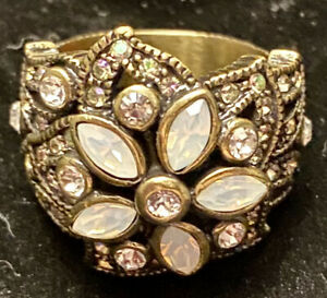 Heidi Daus Flower  Ring With White Crystals  Size 8