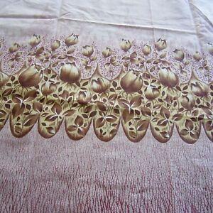 50cm x 89cm Pink Purple Border Print Tulip Floral 1950s Vintage Cotton Fabric