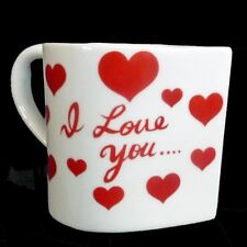 Valentine's Day Heart Shaped Coffee Mug Says I Love You White Red 10 Oz Gift