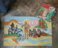 Vintage Star Wars RETURN OF THE JEDI  Twin Flat / Fitted Sheet SET 1983 3 PIECE
