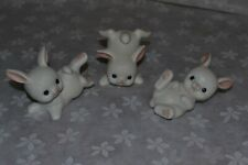 Adorable Set of 3 Home Interiors White Bunny Rabbits Reasonable Shipping So Cute
