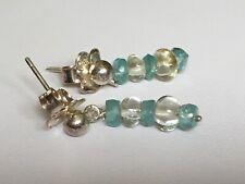 Apatite & Prasiolite Earrings with Sterling Silver Ear Posts