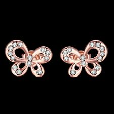 NEW ARRIVAL ROSE GOLD PLATED BUTTERFLY SHAPED CRYSTAL EARRING - UK SELLER