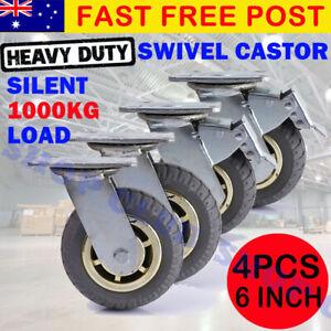 """4X 6"""" / 150mm Heavy Duty Swivel Caster Wheels Castor 1000KG Load, 2 with Brakes"""
